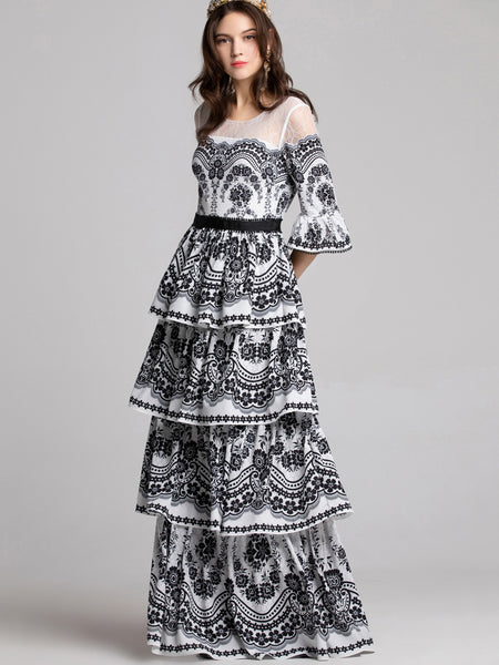 Vintage O-Neck Flare Sleeve Lace Stitching Print Maxi Dress