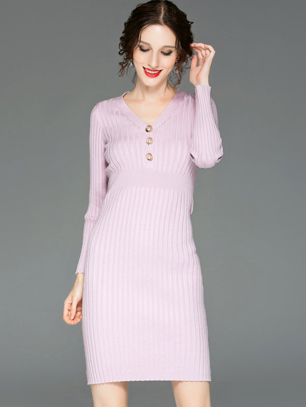 Simple V-Neck Long Sleeve Pure Color Bodycon Dress