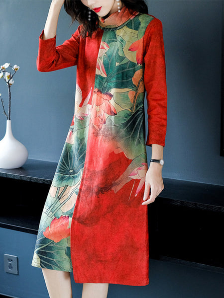 Print High Collar 3/4 Sleeve Stitching Irregular Shift Dress