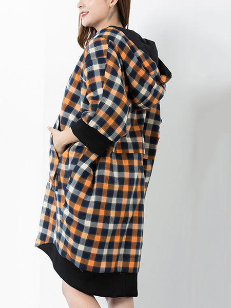 Hooded 3/4 Sleeve Plaid Pocket Coat Shift Dress