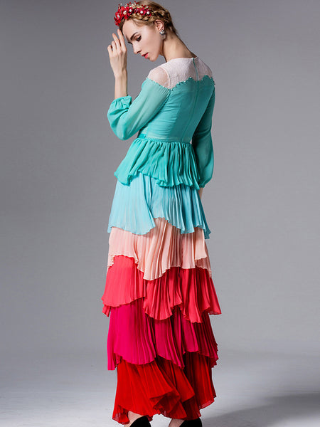 Hit Color O-Neck Long Sleeve Stitching Maxi Dress