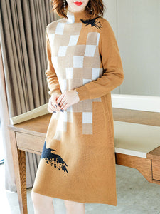 Print Stand Collar Long Sleeve Simple Sweater Dress