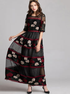 Mesh O-Neck Puff Sleeve Print Stitching Maxi Dress