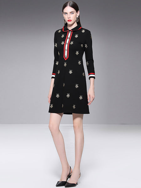 Turn-Down Collar Long Sleeve Print Skater Dress