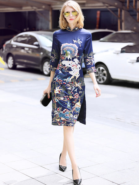 Embroidery Stand Collar 3/4 Sleeve Slit Bodycon Dress
