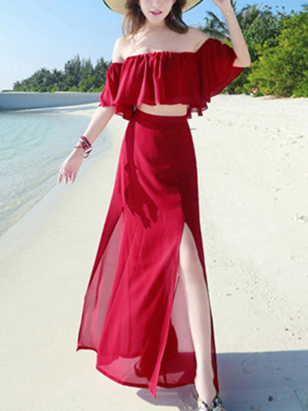 Holiday Boat Neck Mesh Slit Two Piece Maxi Dress