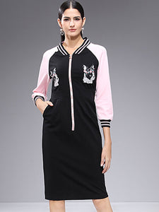 Street V-Neck 3/4 Sleeve Print Shift Dress