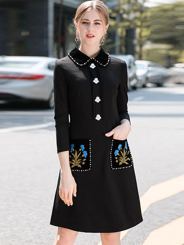 Stylish Turn-Down Collar 3/4 Sleeve Bodycon Dress