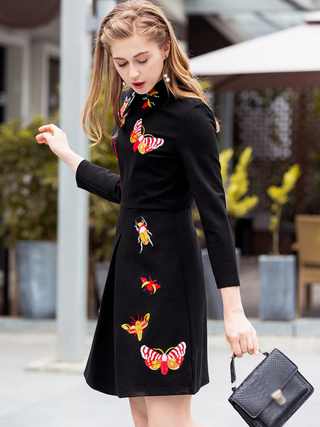 Cute Embroidery Turn-Down Collar 3/4 Sleeve Skater Dress