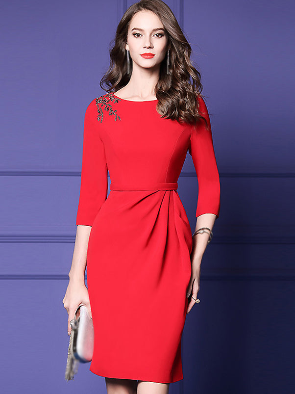 Pure Color O-Neck Long Sleeve Elegant Bodycon Dress