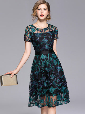 See-Through O-Neck Short Sleeve Embroidery Fit & Flare Dress