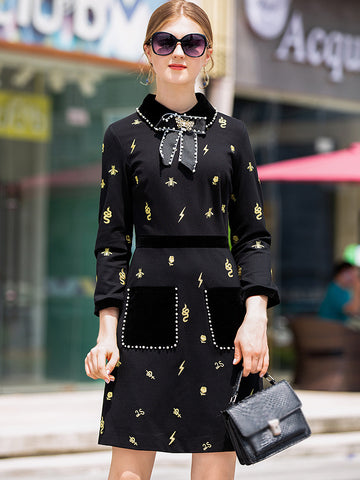 Sweet Turn-Down Collar 3/4 Sleeve Print Bodycon Dress