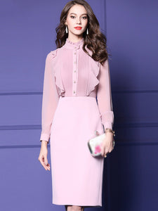 Fake Two Piece Stand Collar Long Sleeve Pure Color Bodycon Dress