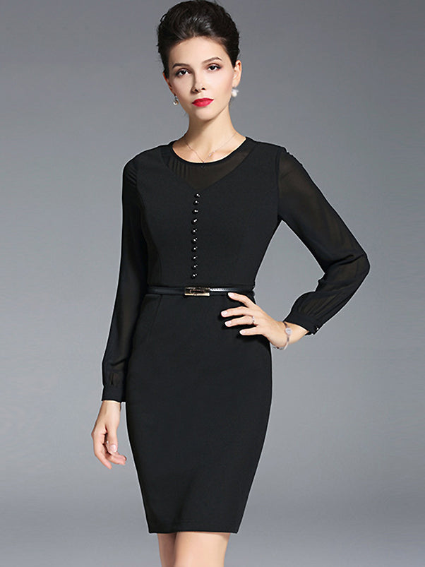 Mesh O-Neck Long Sleeve Pure Color Bodycon Dress