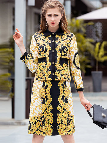 Two Piece Turn-Down Collar 3/4 Sleeve Print Bodycon Dress