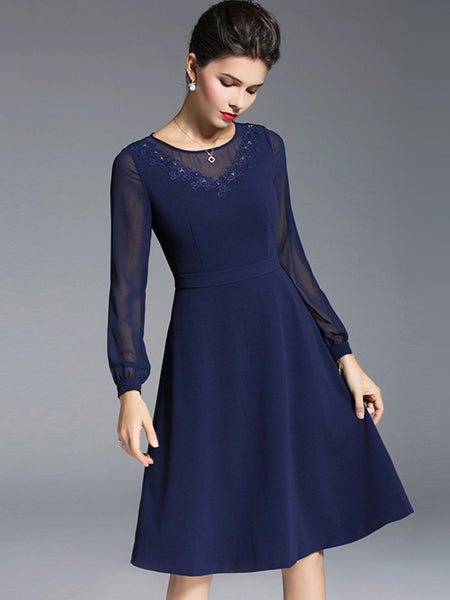 Mesh Stitching O-Neck Long Sleeve Elegant A-Line Dress