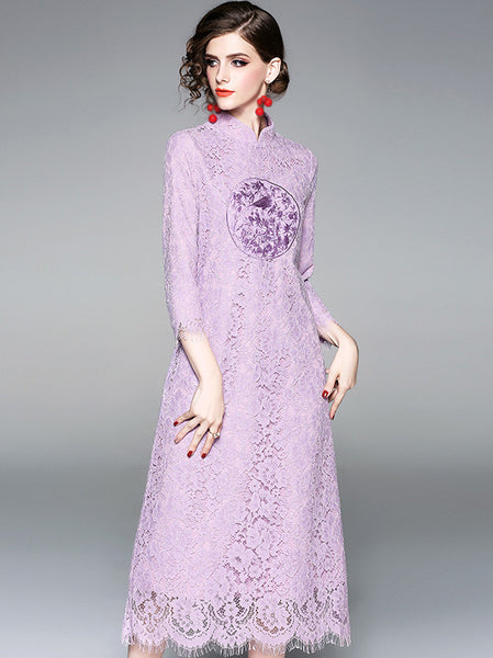 Folk Embroidery Stand Collar 3/4 Sleeve Lace Shift Dress