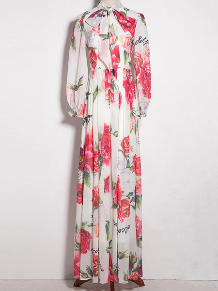Lacing Bowknot Puff Sleeve Print Maxi Dress