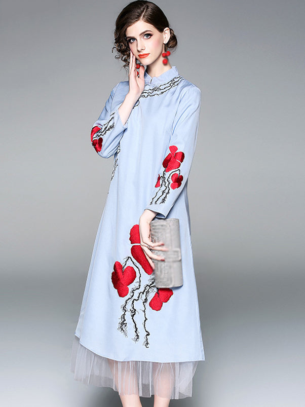 Folk Stand Collar 3/4 Sleeve Print Mesh Stitching Shift Dress