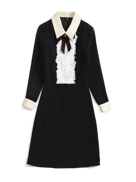 Lace Stitching Turn-Down Collar Long Sleeve Skater Dress