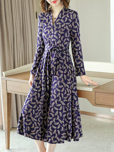 Print V-Neck Long Sleeve Lacing Fit & Flare Dress