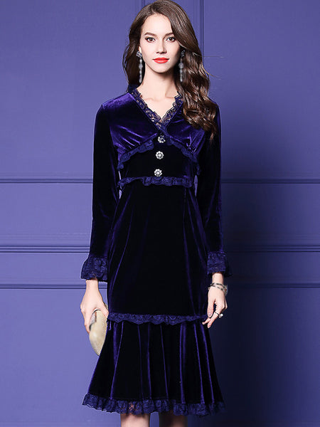 Velour V-Neck Long Sleeve Lace Mermaid Skater Dress