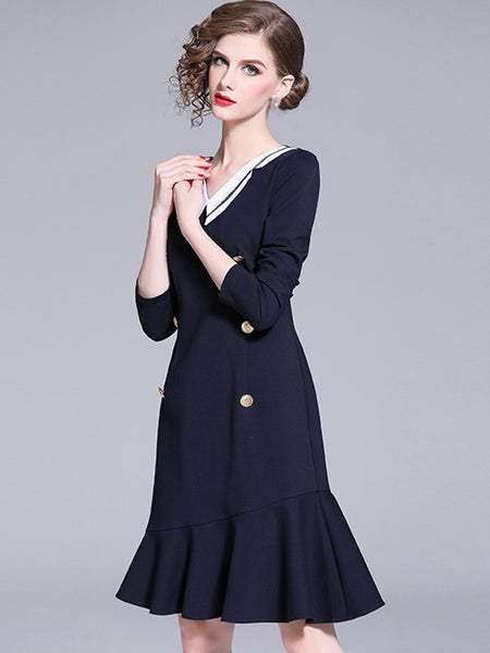 Military V-Neck Long Sleeve Hit Color Mermaid Skater Dress