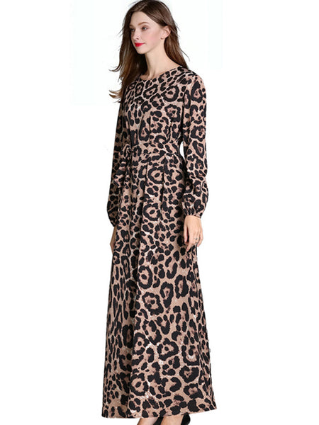 Leopard Print O-Neck Puff Sleeve Lacing Maxi Dress