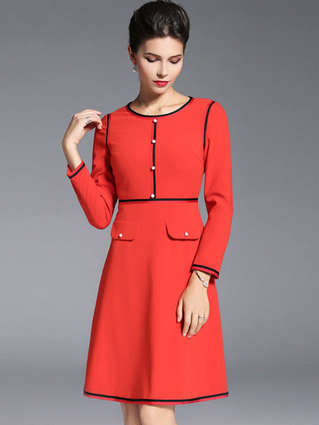 Red O-Neck Long Sleeve Simple Skater Dress