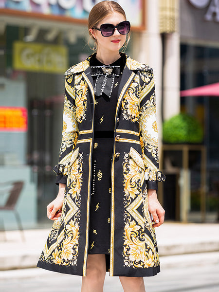Vintage Turn-Down Collar Long Sleeve Print Coat Fit & Flare Dress