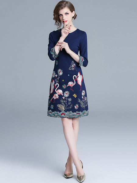 Vintage Chic Embroidery Print 3/4 Sleeve Sheath One-Step Dress