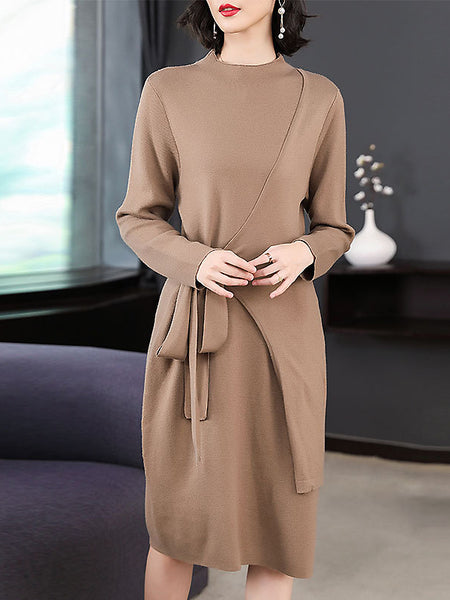 Pure Color Lacing Long Sleeve Stand Collar Sweater Dress