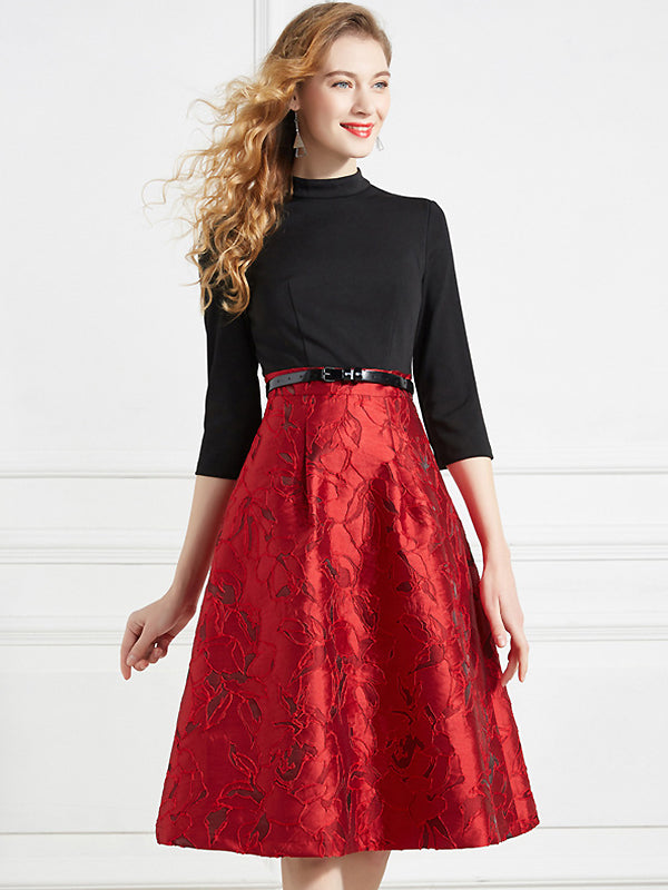 Elegant Embroidery Stitching Belted 3/4 Sleeve Midi Fit & Flare Dress