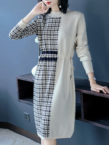 Elegant Plaid Stitching Half High Neck Long Sleeve Knit Dress Over Knee