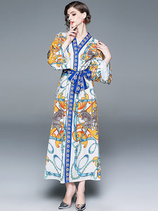 Holiday Floral Print Flare Long Sleeve Lacing Maxi Dress