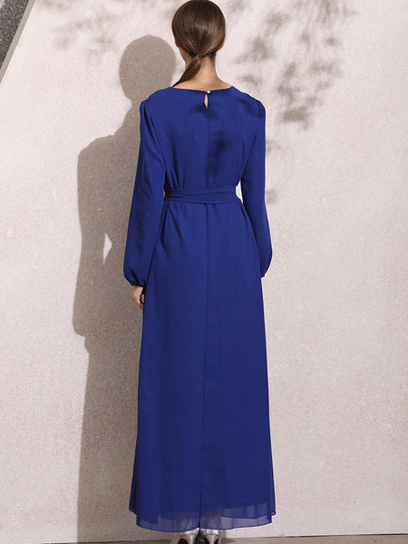 Simple Fashion Pure Color O-Neck Long Sleeve Lacing Maxi Dress