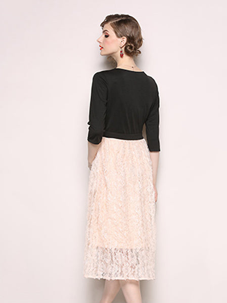 Simple V-Neck Black Stitching Lace Falbala 3/4 Sleeve Dress