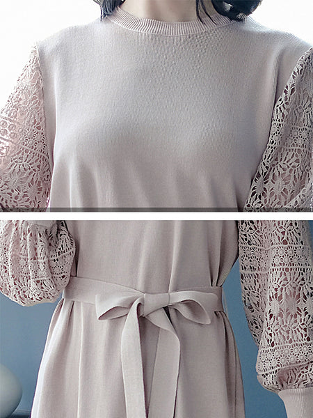 Elegant Lace Stitching Puff Sleeve O-Neck Knit Dress
