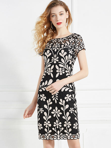 Chic Floral Embroidery Gathered-Waist Slim Short Sleeve Sheath Dress
