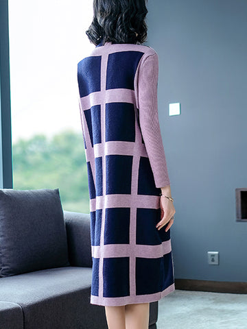Casual Loose Plaid Long Sleeve Half High Neck Sweater Midi Dress