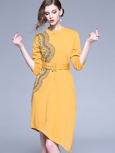 Fashion Embroidery Stand Collar 3/4 Sleeve Lacing Irregular Sheath Dress