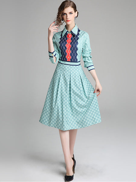 Fashion Work Turn-Down Collar Long Sleeve Fit & Flare Dress Dress