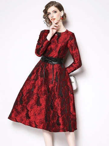 Elegant O-Neck Jacquard Long Sleeve Red Maxi Dress