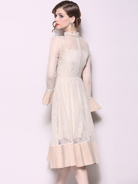 Elegant Hollow Out Stand Collar Lace Stitching Fit & Flare Dress
