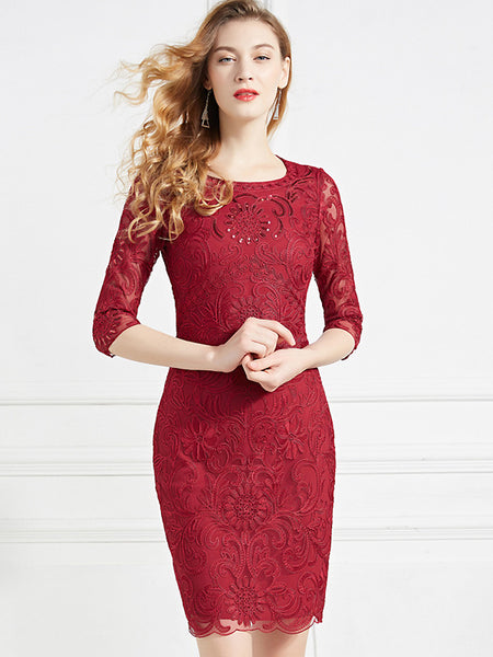 Elegant Embroidery Mesh 3/4 Sleeve O-Neck Sheath Dress