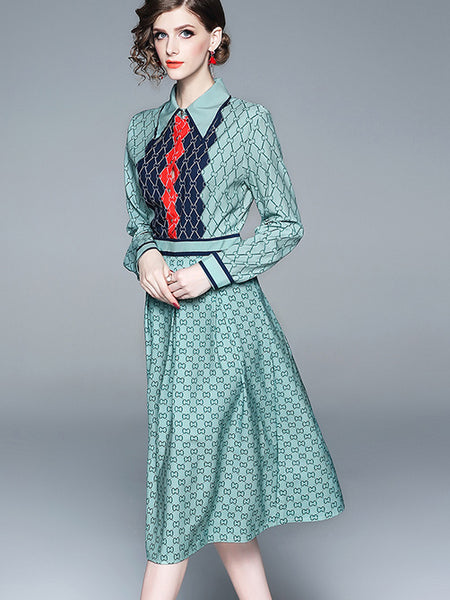 Chic Print Turn-Down Collar Long Sleeve Fit & Flare Dress