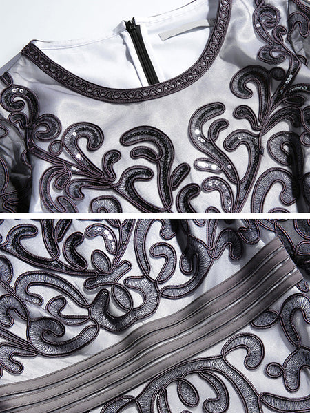 Elegant Embroidery Mesh Bodycon O-Neck Half Sleeve Fish Tail Midi Dress