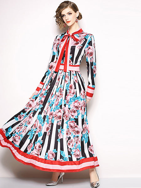 Fashion Bowknot Print Long Sleeve Pleated Big Hem Dress