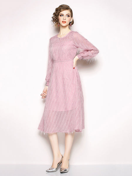 Sweet O-Neck Puff Long Sleeve Chiffon Pleated Skater Dress
