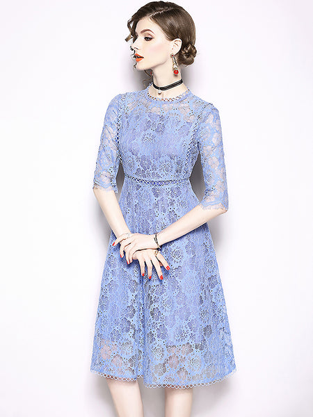 Suave Stand Collar Hook Flower Hollow Out 3/4 Sleeve Skater Dress